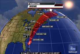 Hurricane Irene Projected Storm Track
